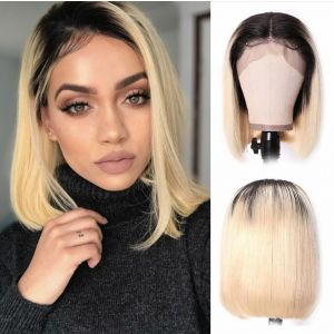 Donmily 13x4 Bob Wig 150% Density With Color T1B613