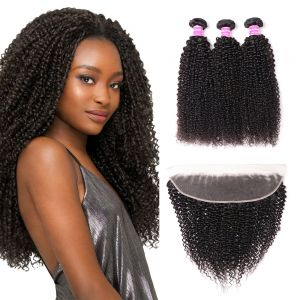 Donmily Kinky Curly 3 Bundles with 13x4 Lace Frontal Closure Yaki Human Hair