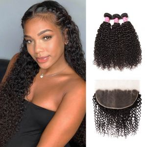 Donmily Jerry Curly 3 Bundles with 13x6 Lace Frontal Closure