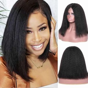 Donmily Kinky Straight BOB 13x4 Lace Front Wig 130% Density