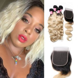 Donmily T1B 613 Body Wave Hair 4 Bundles with 4x4 Lace Closure
