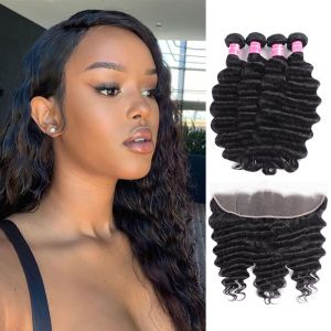Donmily Loose Deep Wave 4 Bundles with Lace Frontal