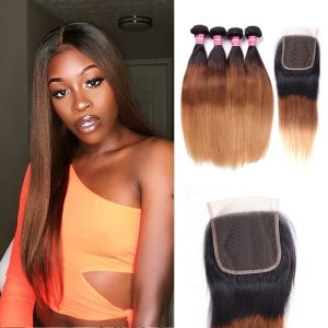 Donmily Ombre Straight Hair 1b/4/27 4 Bundles With Lace Closure
