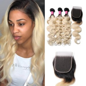 Donmily 3 Bundles Body Wave with 4x4 Lace Closure 1B/613 Color