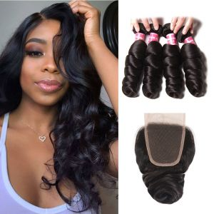 Donmily Loose Wave 4 Bundles with 4x4 Lace Closure Free Part