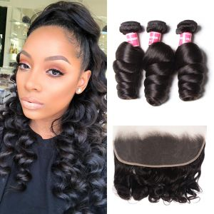 Donmily Loose Wave 3 Bundles with13x4 Lace Frontal Closure