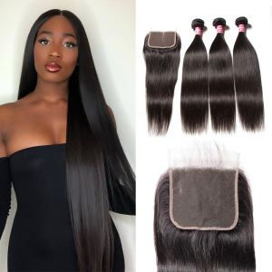 Donmily 3 Bundles of Straight Hair 5x5 Lace Closure