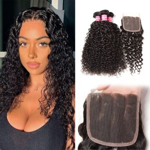 Donmily Jerry Curly Hair 3 Bundles with 5x5 Lace Closure