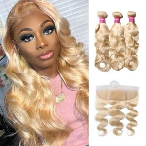 Donmily Body Wave 613 Blonde 3 Bundles with 13x4 Lace Frontal