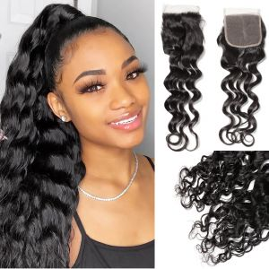 Donmily Natural Wave 1 Bundle with  4x4  Free Part Lace Closure