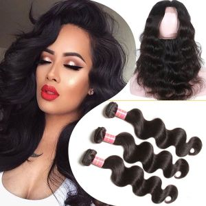 Donmily Brazilian Body Wave 3 Bundles with 360 Frontal Closure