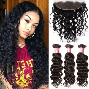 Donmily Indian Natural Wave 3 Bundles with Lace Frontal