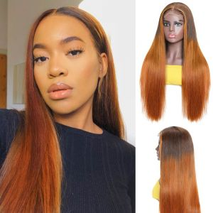 Ombre Red straight hair wig 4*4 lace front wig