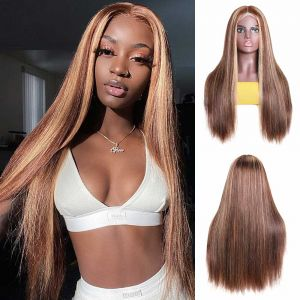 Donmily Hightlight Color 4*4 Lace Front Wig 150% Density Ombre Wigs With Baby Hair Pre-plucked