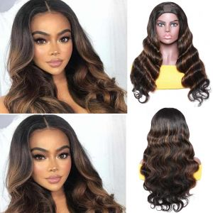 Donmily 150% Density Highlight Brown U Part Body Wave Wigs 100% Human Hair Guleness Easy To Install