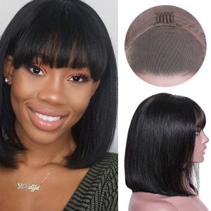 Donmily 13x4 Lace Front Straight Bob with Bangs Wig 130% Density