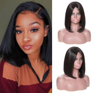13x4 Lace Front Wig Straight Bob 130% Density Human Hair