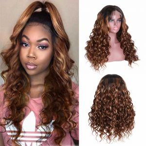 Donmily CinnamHon Hair LighteningCurly 13x4 Lace Front Wig 150 Density Color TF427