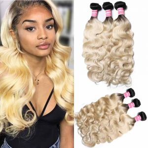 Donmily Body Wave T1B/613 Blonde 3 Bundles Remy Hair
