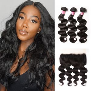 Donmily Transparent Lace Frontal 13x4 Body Wave 3 Bundles