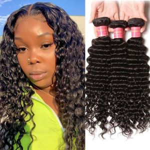Donmily Indian Deep Wave 3 Bundles Human Hair Weave