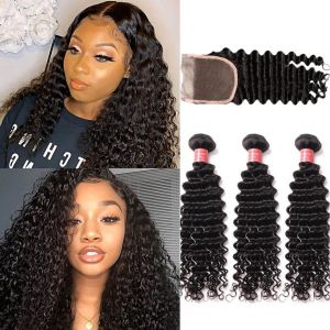 Donmily Deep Wave 3 Bundles Human Hair with Lace Closure (Free Part)