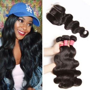 Donmily 3 Bundles of Brazilian Body Wave with Closure (Three Part)