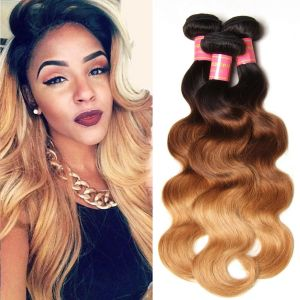 Donmily Ombre Brazilian Body Wave 3 Bundles Human Hair (#1B/4/27)