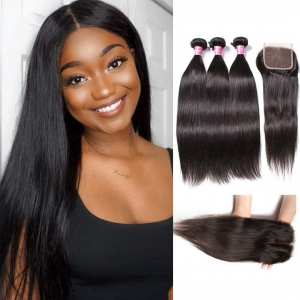 Donmily Brazilian Straight Hair 3 Bundles with Closure (Free Part)