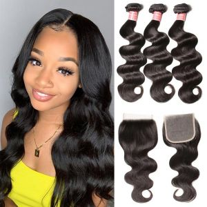 Donmily Malaysian Body Wave 3 Bundles with 4x4 Lace Closure