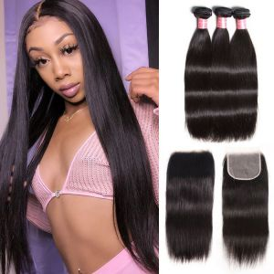 Donmily Straight Hair 3 Bundles with Free Part 5x5 Transparent Lace Closure