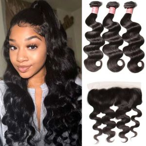 Donmily Indian Body Wave 3 Bundles with 13 x 4 Lace Frontal