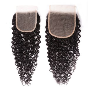 Donmily New Jerry Curly Virgin Hair 5x5 Inch Transparent Lace Closure