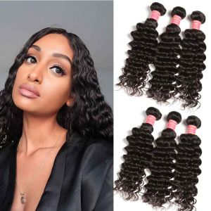 Donmily 3 Bundles Peruvian Deep Wave Human Hair