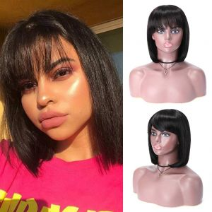 Donmily Bob Straight Hair Wig With Bangs Human Hair Wig Machine Made