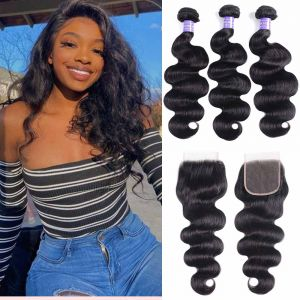 Donmily Human Hair 3 Bundles Body Wave Hair weaves with 4*4 Lace Closure