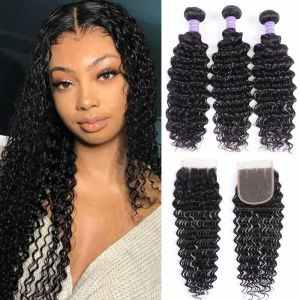 Donmily 3 Bundles Deep Wave Hair weaves with 4*4 Lace Closure 100% Human Hair