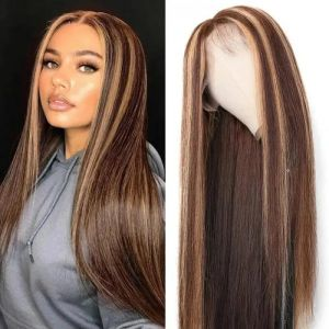 Donmily Highlights Color 13x4 Straight Lace Front Human Hair Wigs With Baby Hair Pre-plucked 150% Density
