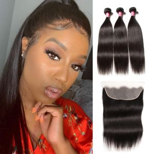 Donmily Straight Hair 3 Bundles with 13x4 Transparent Lace Frontal Free Part