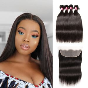 Donmily 4 Bundles Straight Hair with 13x4 Transparent Lace Frontal New Free Part
