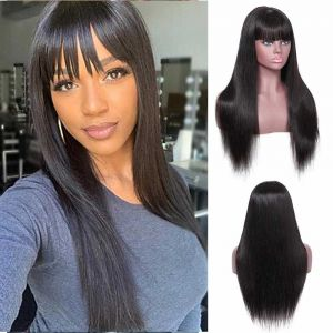 Donmily 13x4 Transparant Lace Front Wig 150 Density Straight Hair With Bangs