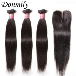 Donmily Brazilian Straight Hair 3 Bundles with Closure (Middle Part)