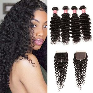 Donmily Deep Wave Hair 4 Bundles  with 4x4  Lace Closure