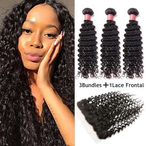Donmily Indian Deep Wave 3 Bundles with 13x4 Lace Frontal Closure