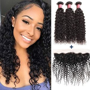 Donmily Culrly Hair 3 Bundles with 13x4 Lace Frontal