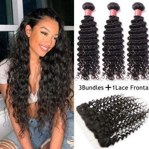 Donmily Brazilian Deep Wave 3 Bundles with 13x4 Lace Frontal Closure