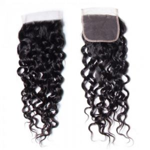 Donmily Water Wave 1Bundle Hair with 4x4 Lace Closure Free Part