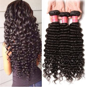 Brazilian 3 Bundles Deep Wave Hair Human Virgin Hair