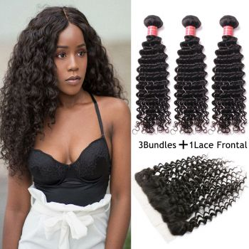 Donmily Indian Virgin Deep Wave Curly Hair 3 Bundles with 13*4 Lace Frontal Closure