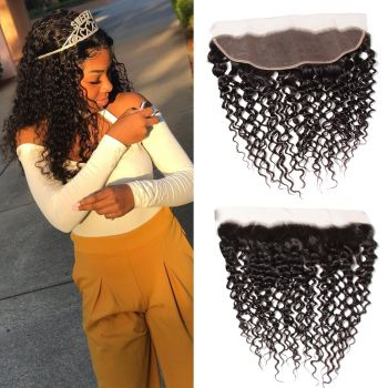 Donmily 1 Piece 13x4 Inch Transparent Lace Jerry Curly Virgin Hair